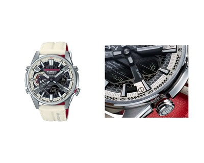 ECB-S100HR / El anillo externo del dial está decorado con auténtica pintura Championship White